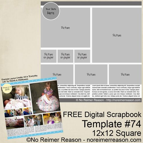 free digital scrapbook template scrapbooking template digital