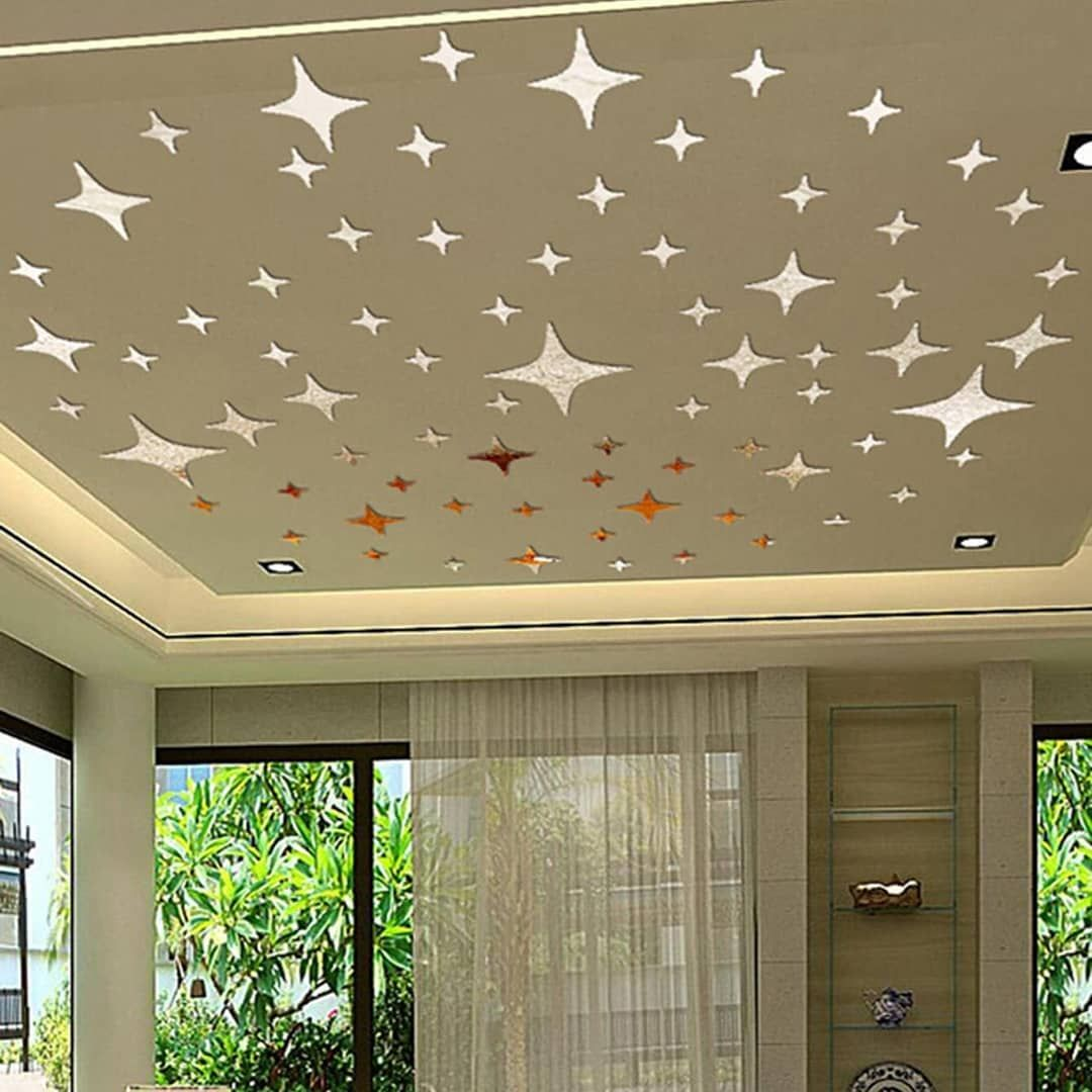 50pcs Art Removable Star Wall Sticker 3D Mirror Decal Vinyl Acrylic Home Decor