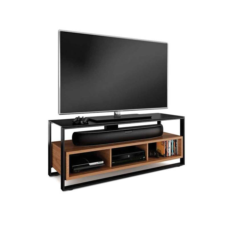 Bdi Sonda Floating Solid Wood And Black Glass 60 Inch Tv Stand