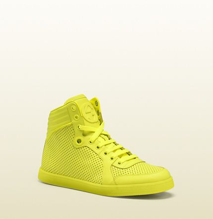 meet sneakers for cheap timeless design Gucci coda neon yellow leather sneaker | HERE COMES THE HOT ...