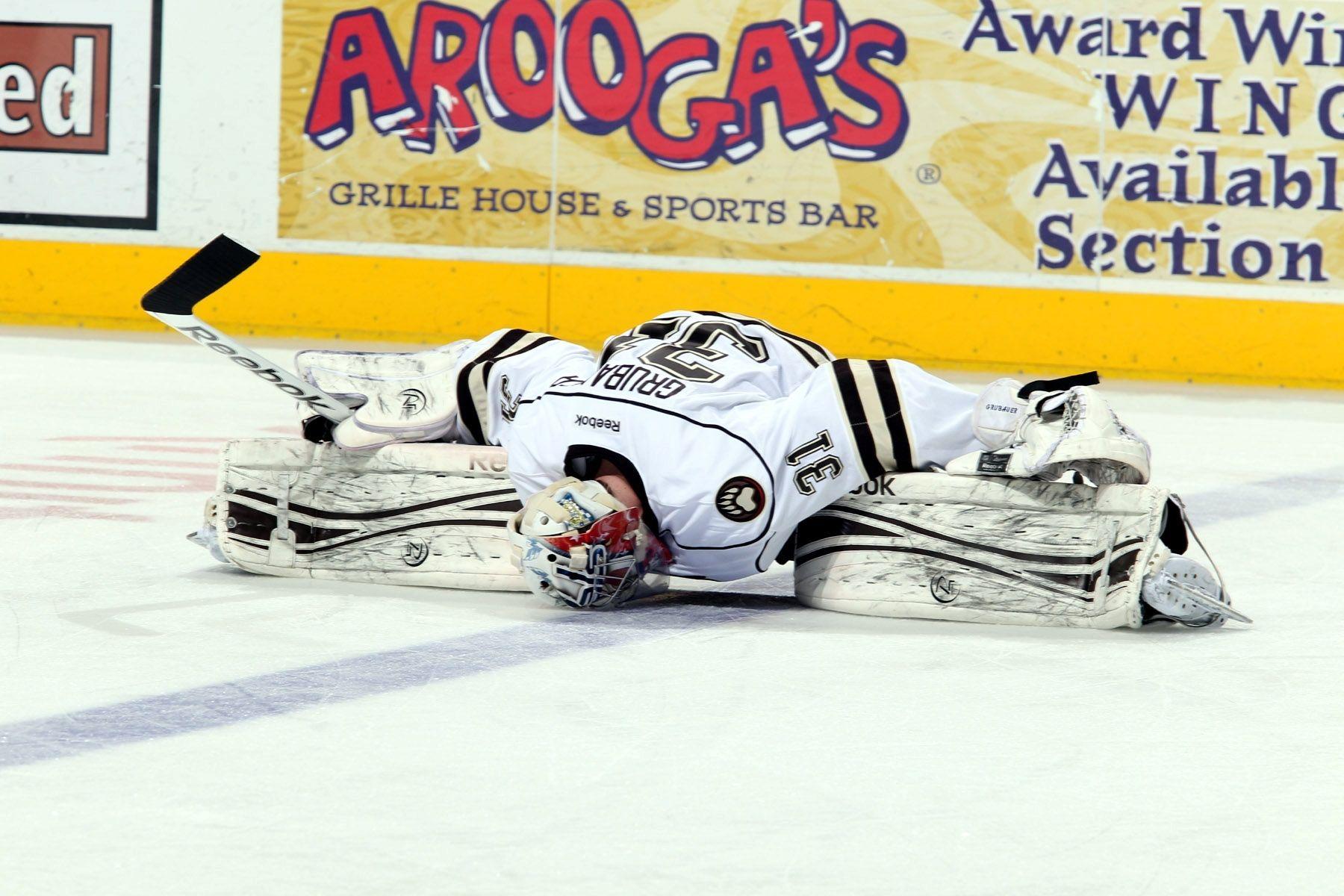 656138b1 04.21.13 - Hershey Bears goaltender Philip Grubauer stretching ...