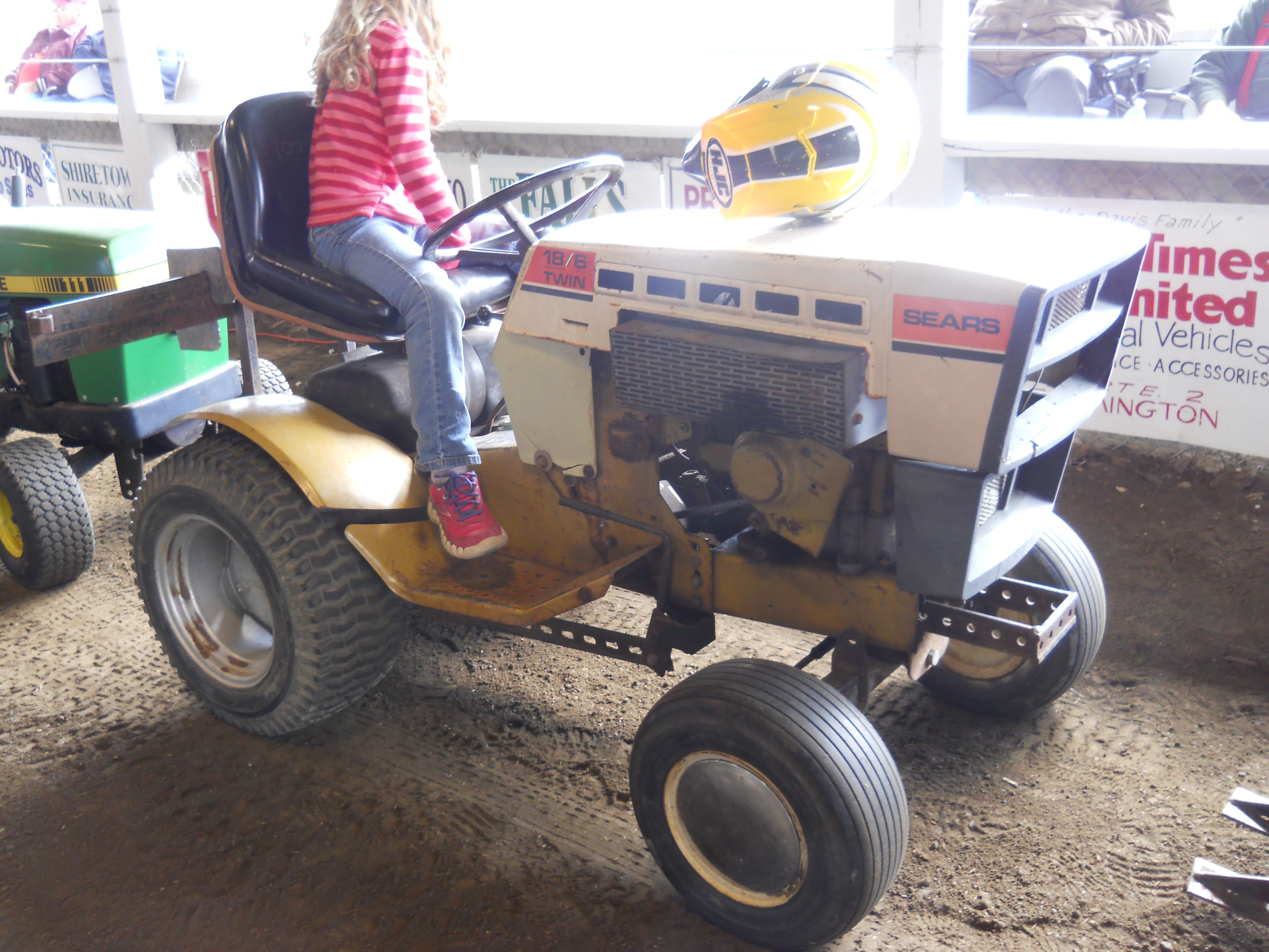 Sears Small Tractors : Sears twin lawn mower in pulling contest https