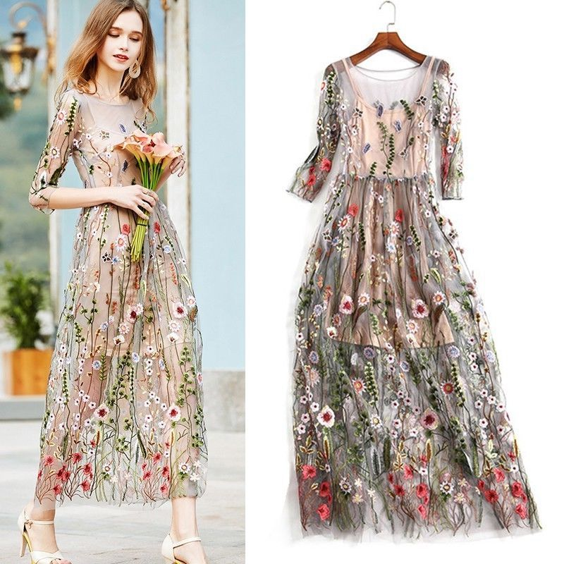 7dfcbf0f99e 2017 Lady Flower Embroidery Floral Mesh Evening Party Maxi Cocktail Long  Dress