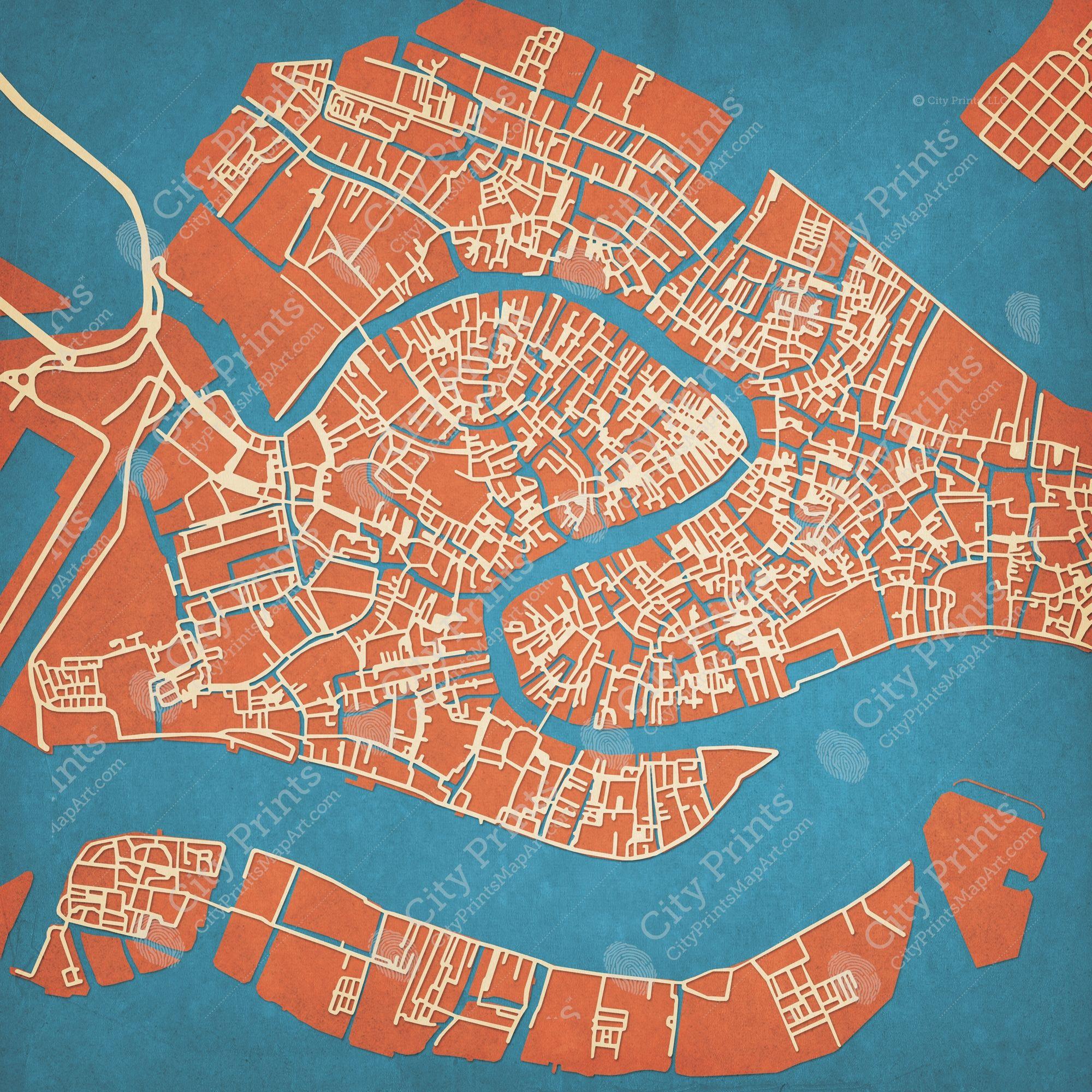 Venice Italy Map Art In 2020 Map Art Venice Map Map Wall Art