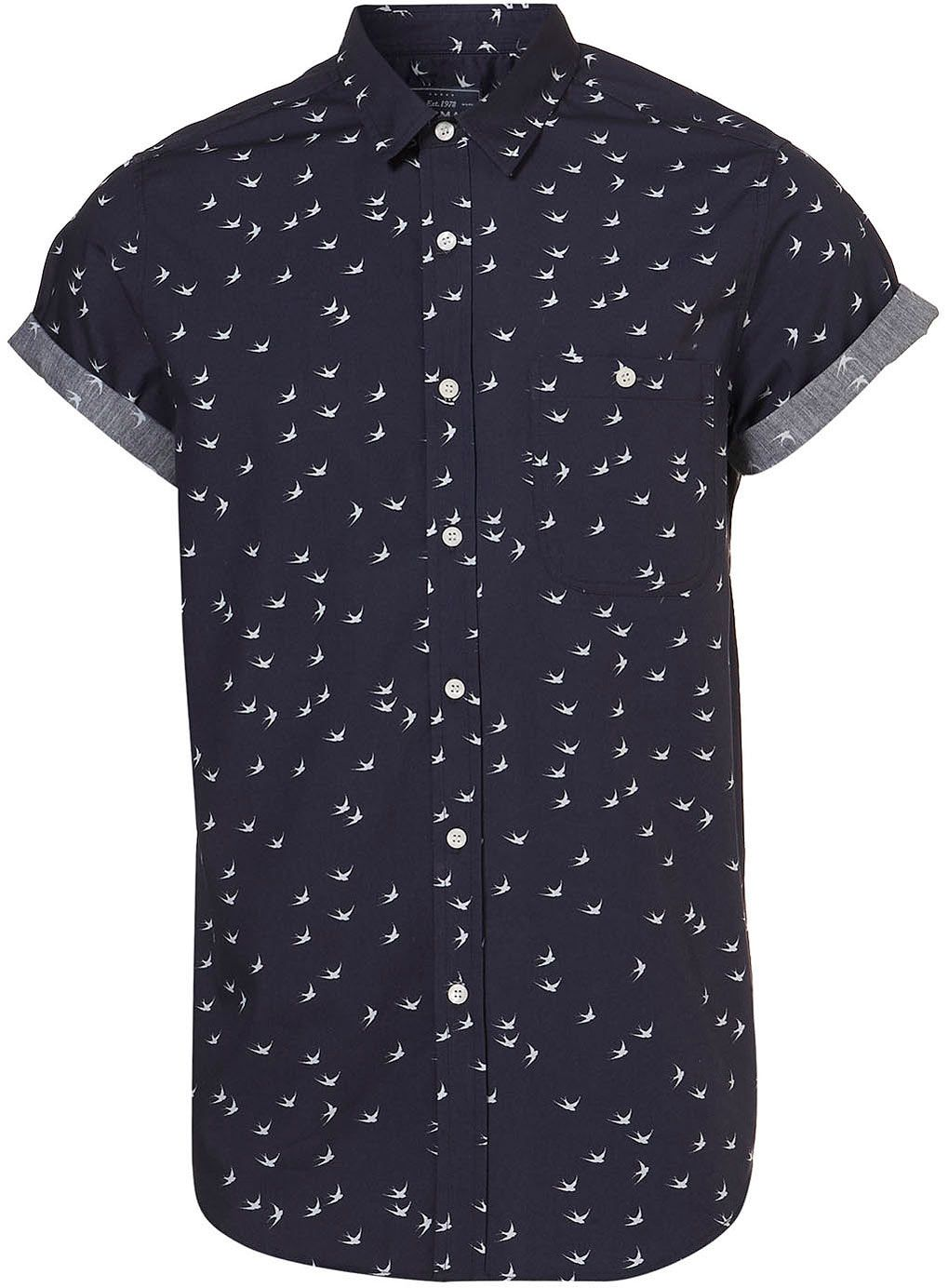 f2a58460 Navy Swallow Print Short Sleeve Shirt - Sale Shirts - Sale & Offers - Sale  & Special Offers - TOPMAN