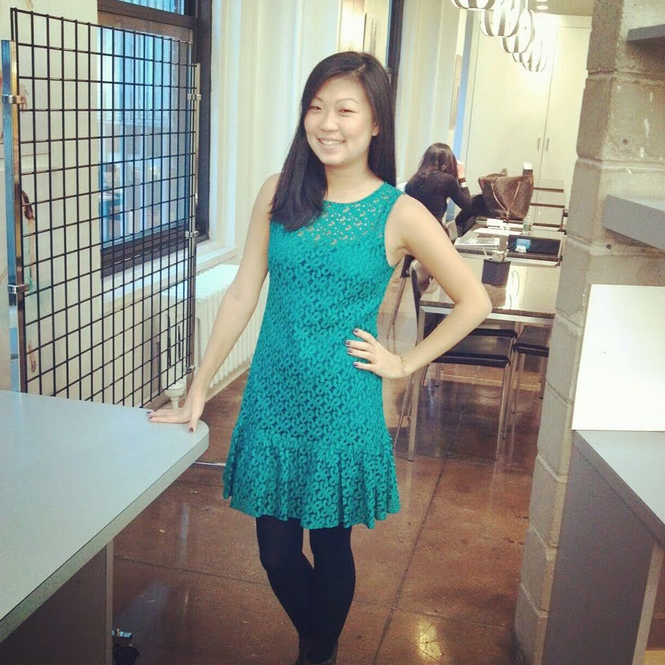 Our gorgeous aquamarine eyelet dress in the office