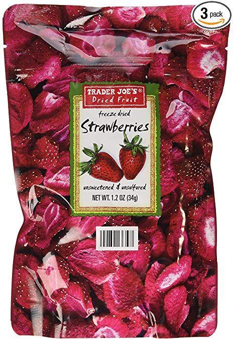 3 Pack Trader Joe's Dried Fruit Freeze Dried Strawberries Unsweetened and Unsulfured #freezedriedstrawberries