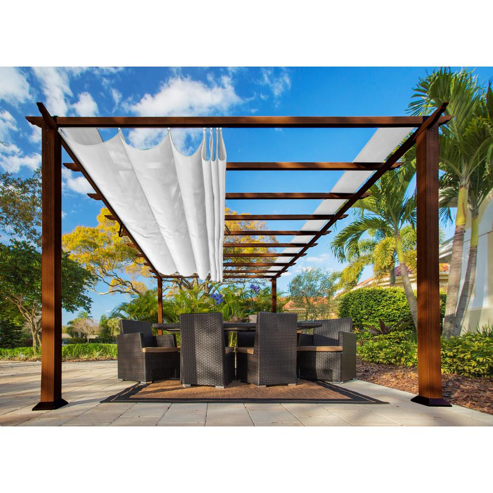 Paragon Outdoor Paragon 11 Ft X 16 Ft Pergola With The Look Of Chilean Wood With An Off White Color Canopy Top Pr16wd2w The Home Depot Aluminum Pergola Outdoor Pergola Pergola Patio