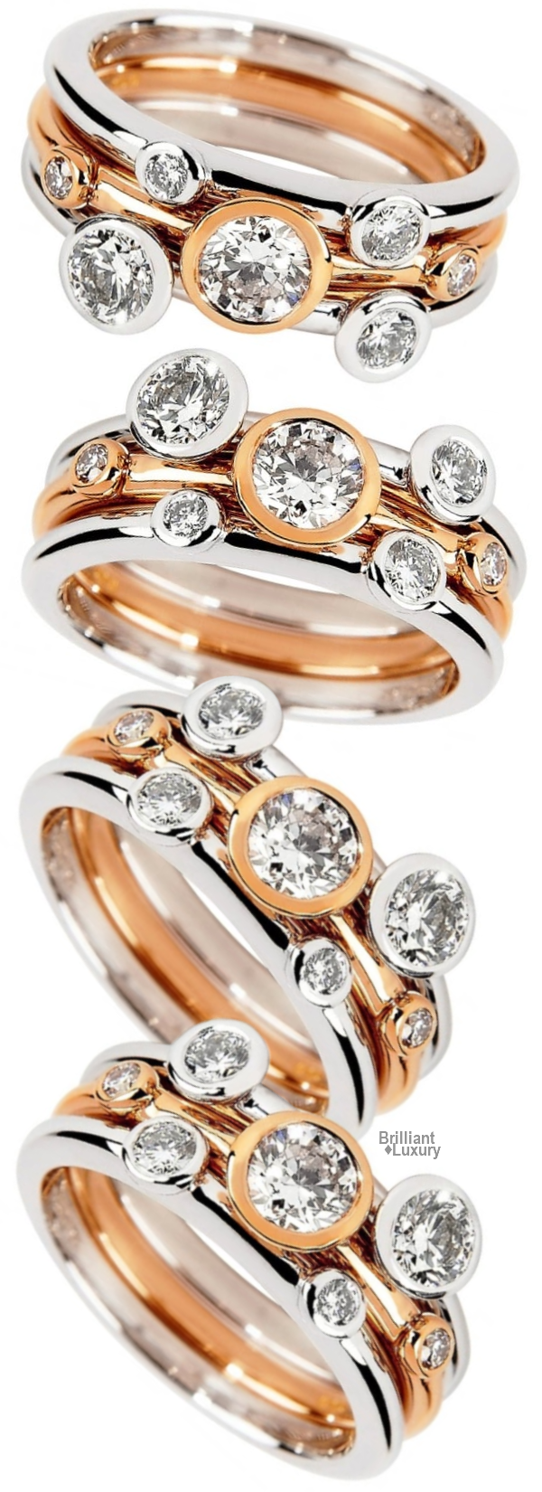 Berry's Lucia 18ct White & Rose Gold Three Band Dress Ring
