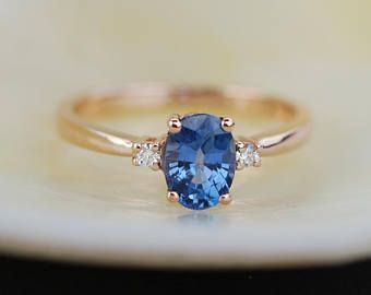 Rose Gold Engagement Ring Peach Sapphire 5ct Peach Champagne