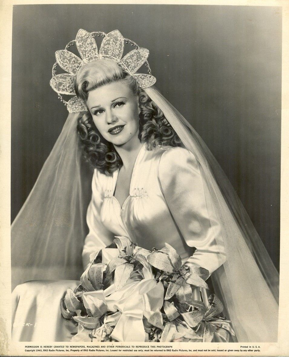 Ginger rogers pictured during the 1940s wedding dresses for Vintage 1940s wedding dresses