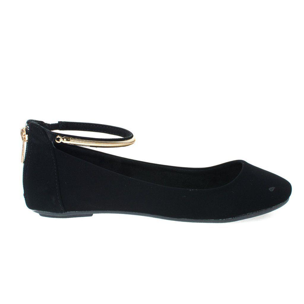 Round Toe Dress Flat w Oriental/Russian Inspired Print Metal Ankle Strap. Women's Flat Shoes