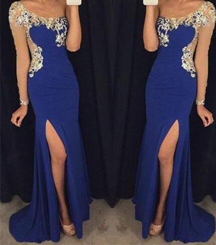 78a79073a Impresionantes vestidos de fiesta largos en color azul