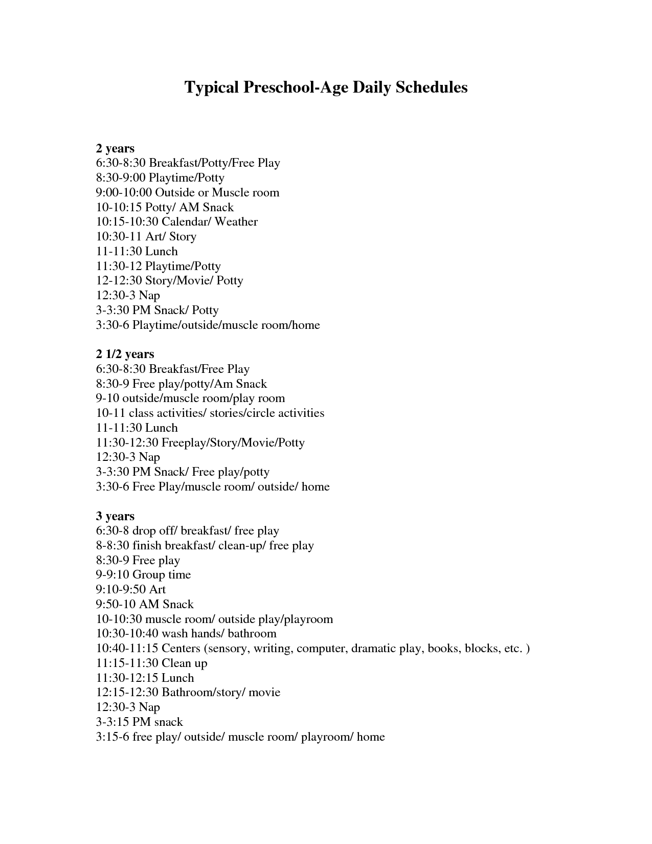 Typical Daily Schedules For 2-3-Year-Olds Note: Have To Sign Up For Docstoc  To Print/download This