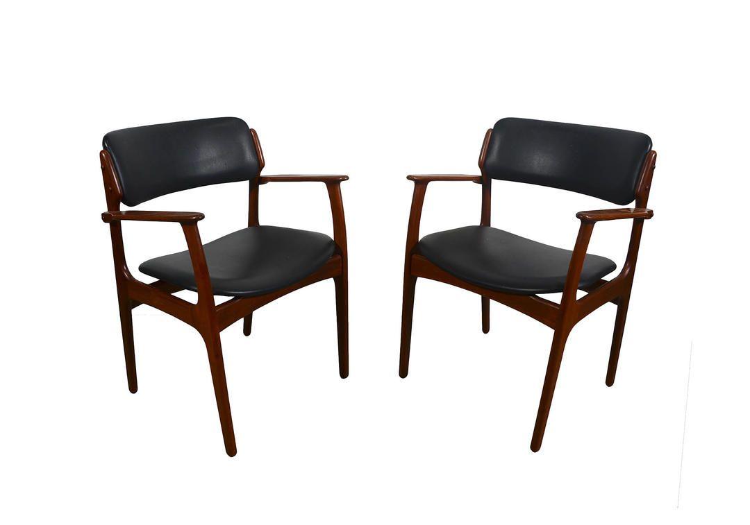 Teak Arm Chair Erik Buck Danish Modern OD Mobler Dining Chair Black