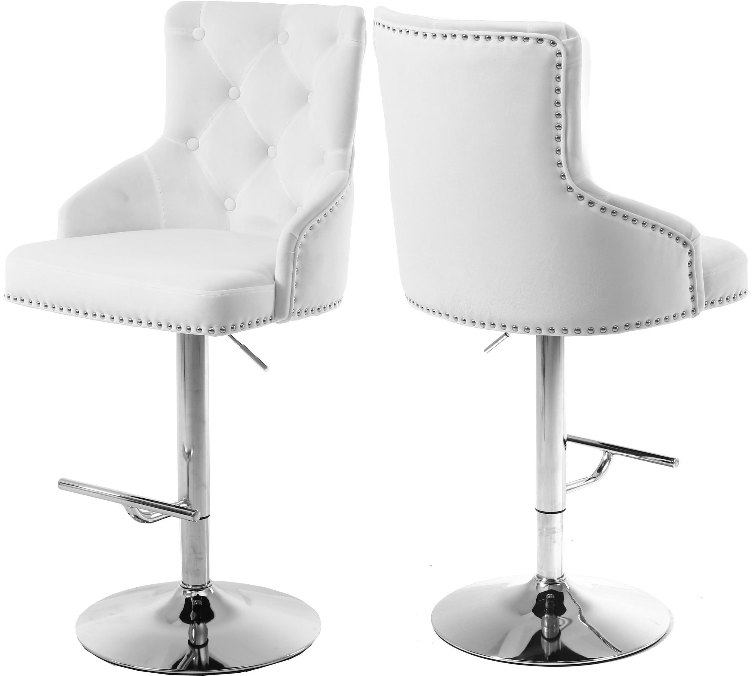 Claude White Velvet Adjustable Stool Adjustable Bar Stools White Bar Stools Adjustable Stool