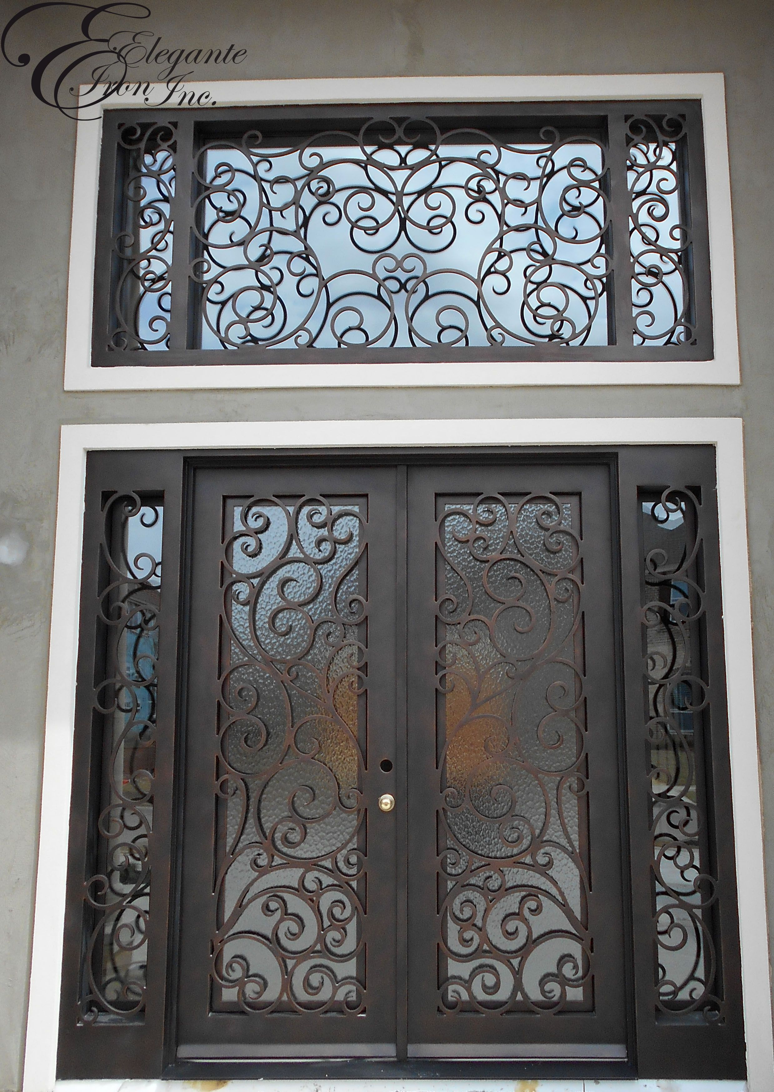 Entry doors with rectangular transoms 6 8 quot prehung - Custom Iron Front Door With Side Lights And Separate Transom