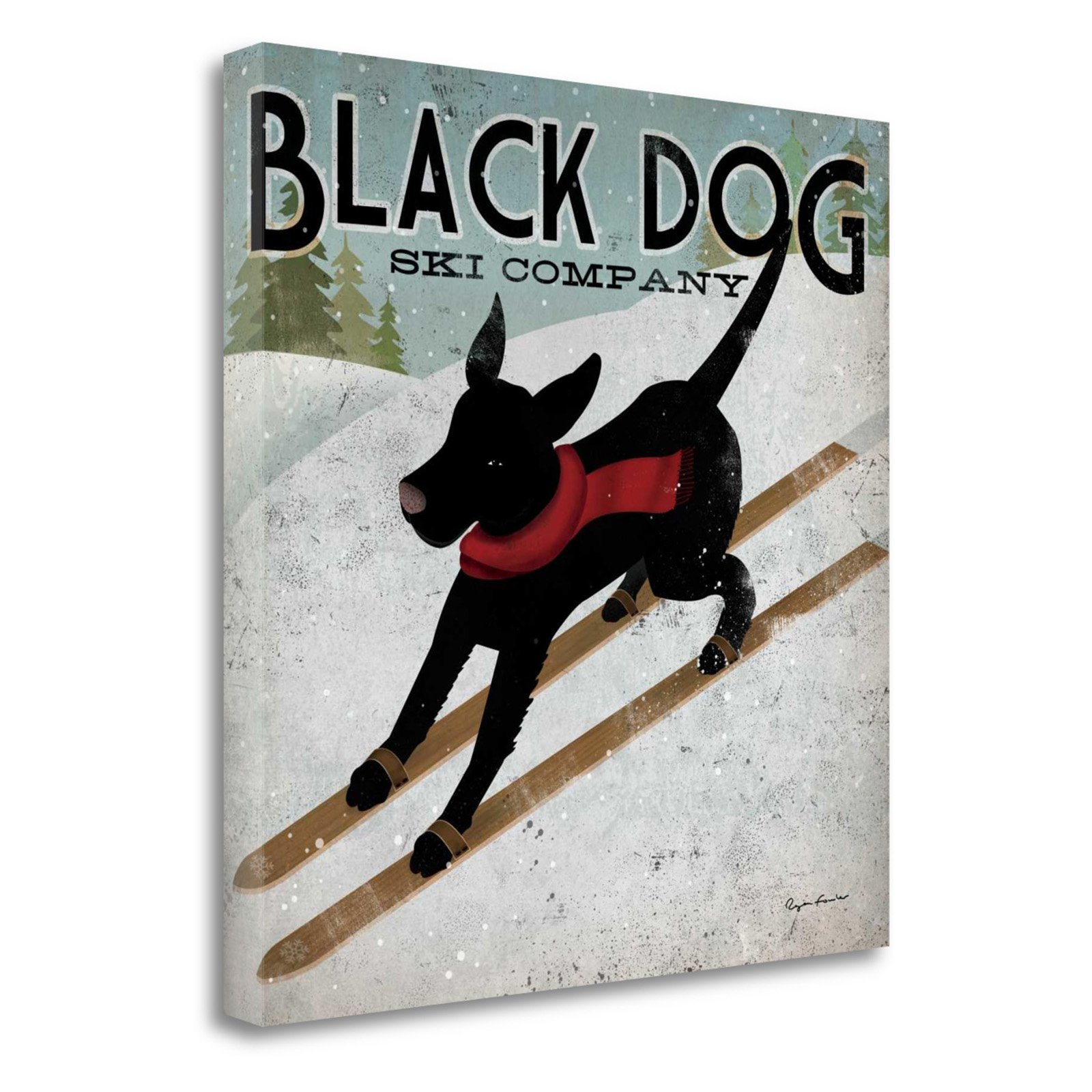 Black Dog Canoe Ryan Fowler Boats Sign Dog Lab Animals Large Print Poster
