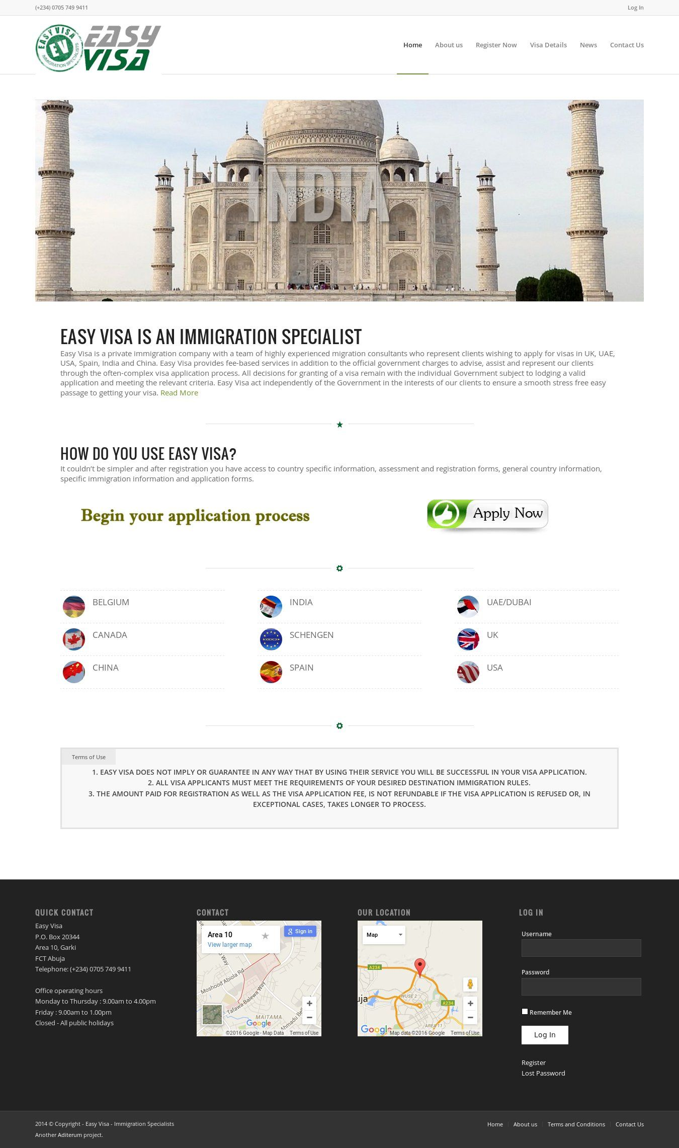 WordPress site easy-visa.org.uk uses the Wordpress template Enfold ...