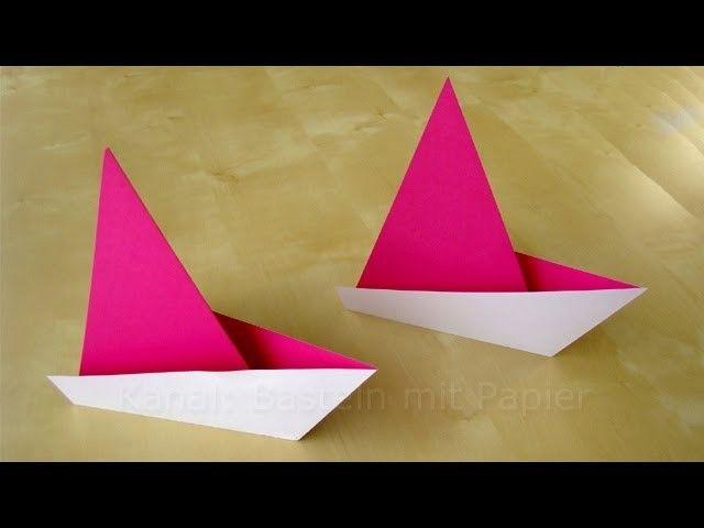 Origami Segelboot falten - Einfaches Origami Schiff basteln mit Papier - Boot Basteln mit Kindern #origamianleitungen