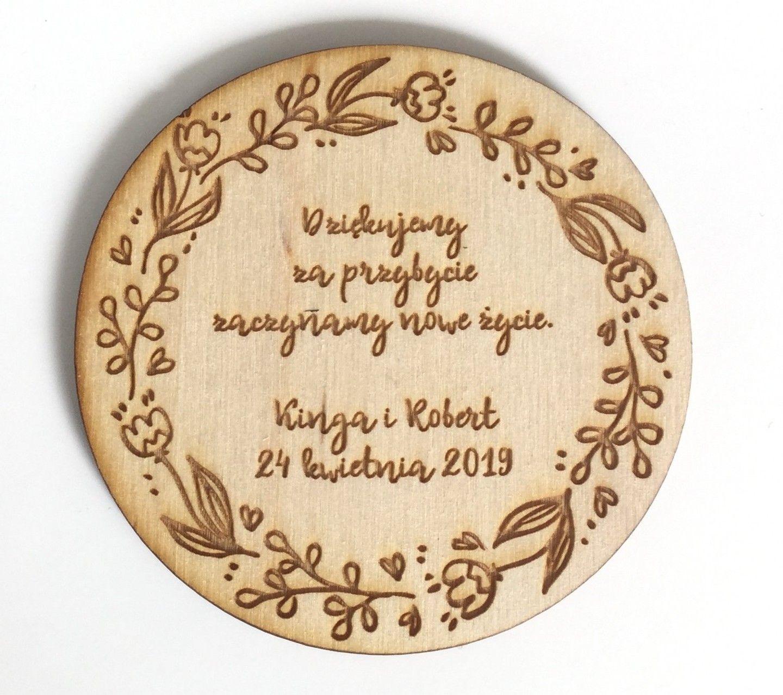 Podziekowanie Dla Gosci Wesele Slub Magnes Sklejka Inga Decorative Plates Decor