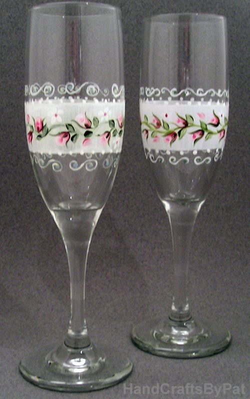 Glassware Hand Painted Champagne Flutes Ribbon Rose