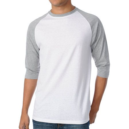d9703dbd Introducing the 2nd Inning baseball tee for guys from Zine. This baseball  tee features a two-tone white and grey design with grey 3/4 length raglan  sleeves, ...