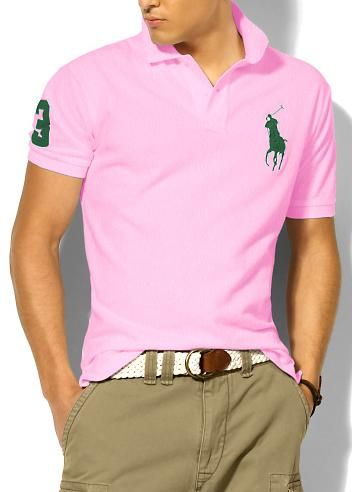 6daa6bb631a340 Ralph Lauren Short Sleeve Big Pony Polo Shirt Men green pink ...