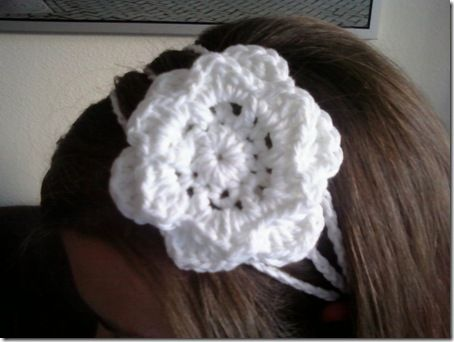 diadema de crochet simple con flor