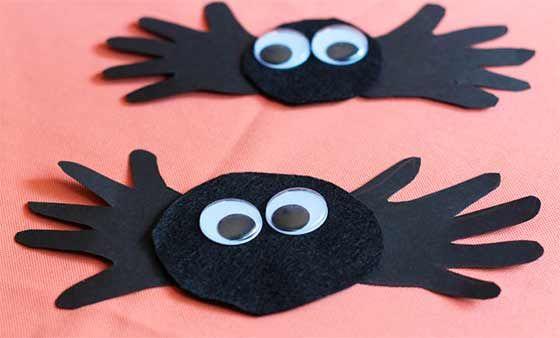 arañas de manos con fieltro Arácnidos Pinterest - how to make halloween decorations for kids