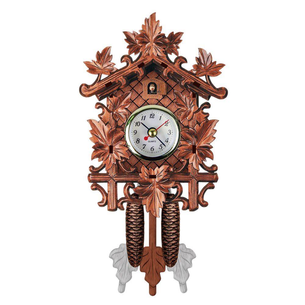 US Vintage Wood Cuckoo Clock Forest House Swing Wall Alarm Handcraft Room Decor
