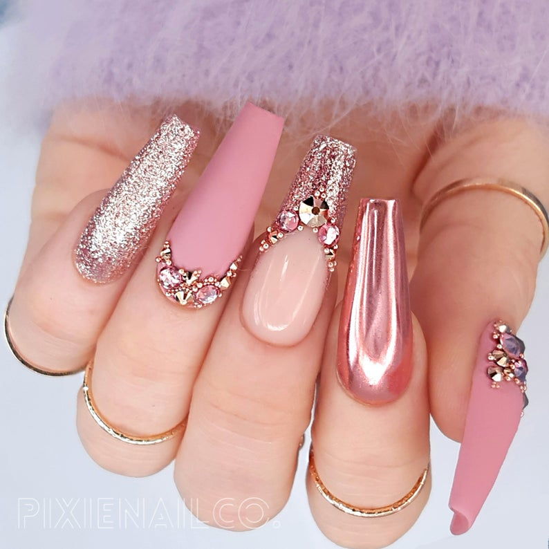 Photo of Press On Nails Matte Pink with Rose Gold Chrome and Swarovski Crystals Luxury Custom Nails