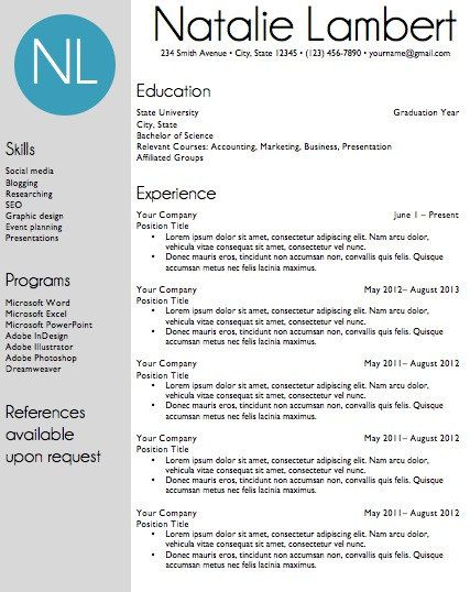 Resume Word Template Classy Resume Template  Word Document Download  Modern Monogram  Template Review