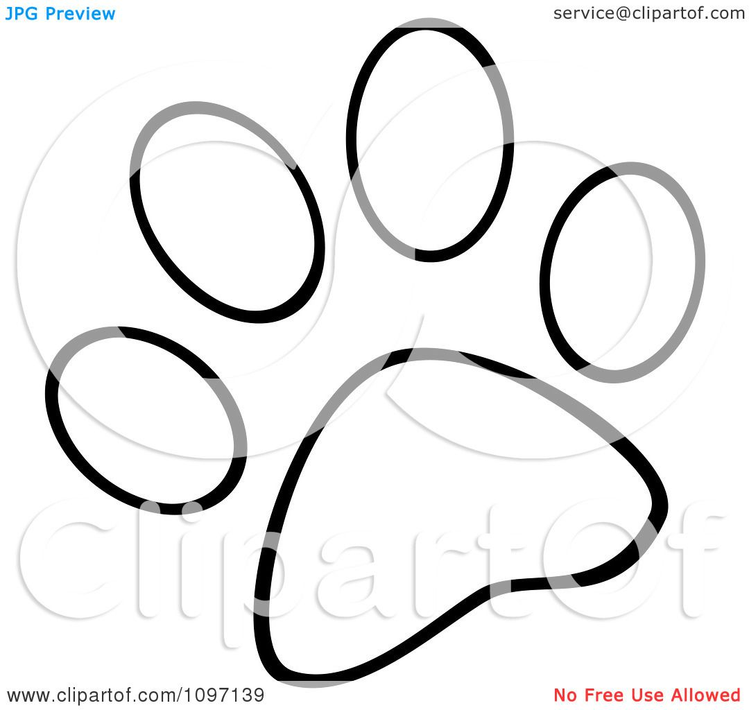 Clipart Outlined Dog Paw Print