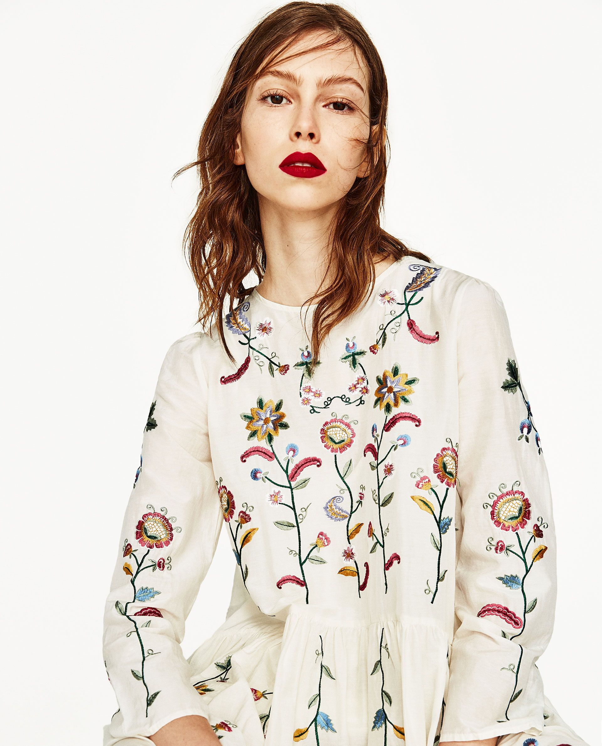 Silk Dress With Flowers Embroidery Zara Pinterest Silk Dress