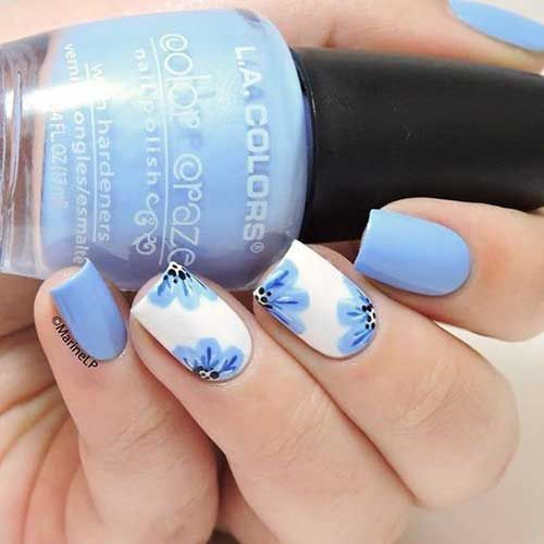 Blue Coffin Nails With Flower Design And Gold Glitter Pepino Nail Art Flower Nails Nail Designs Blue Nails