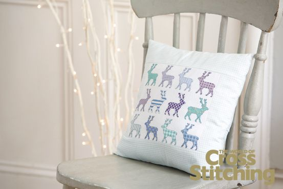 Contemporary chic - reindeer cross stitch pattern… Create this elegant reindeer design for Christmas, perfect as a gift or to bring some style to your sofa! The individual motifs are great for cards too. Find the pattern and step-by-step instructions in issue 210 of The World of Cross Stitching mag, out now!