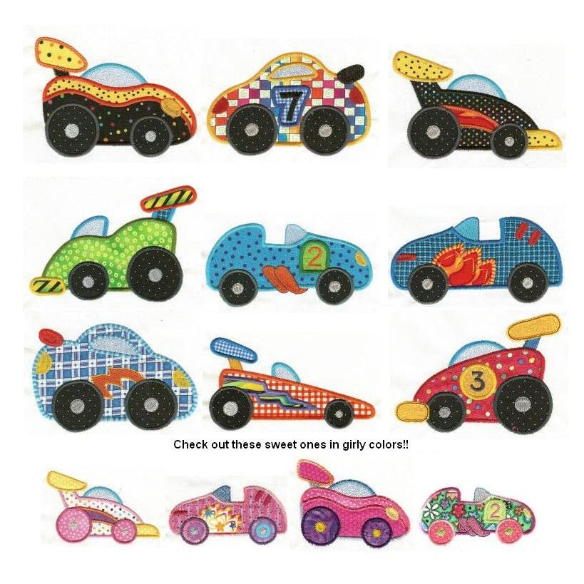 Racecars Applique Machine Embroidery Designs Designs By Juju
