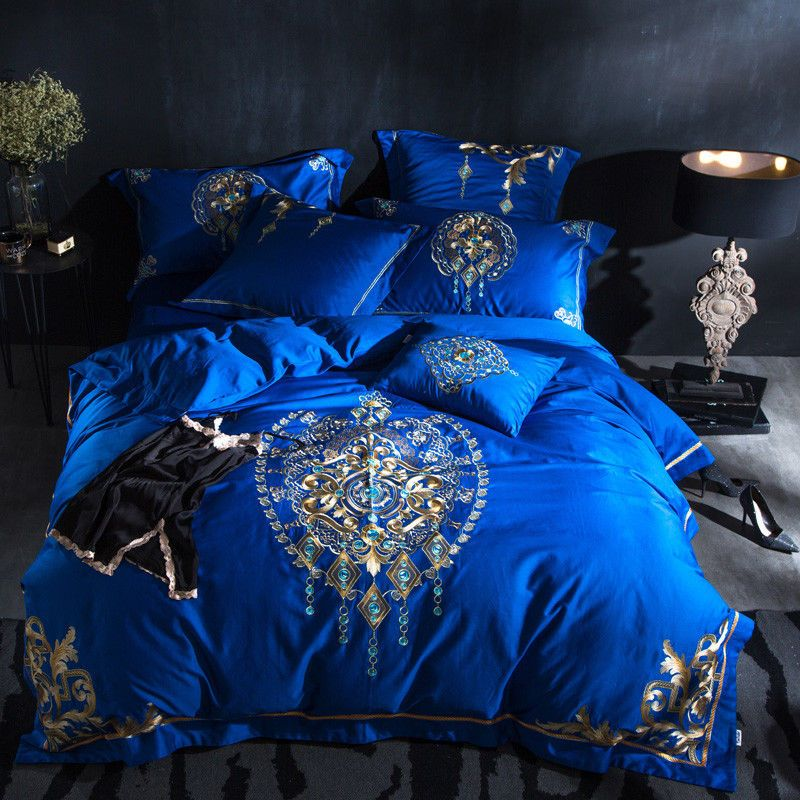 7pc Luxury Royal Blue Gold Jacquard, Royal Blue Queen Bed Sheets
