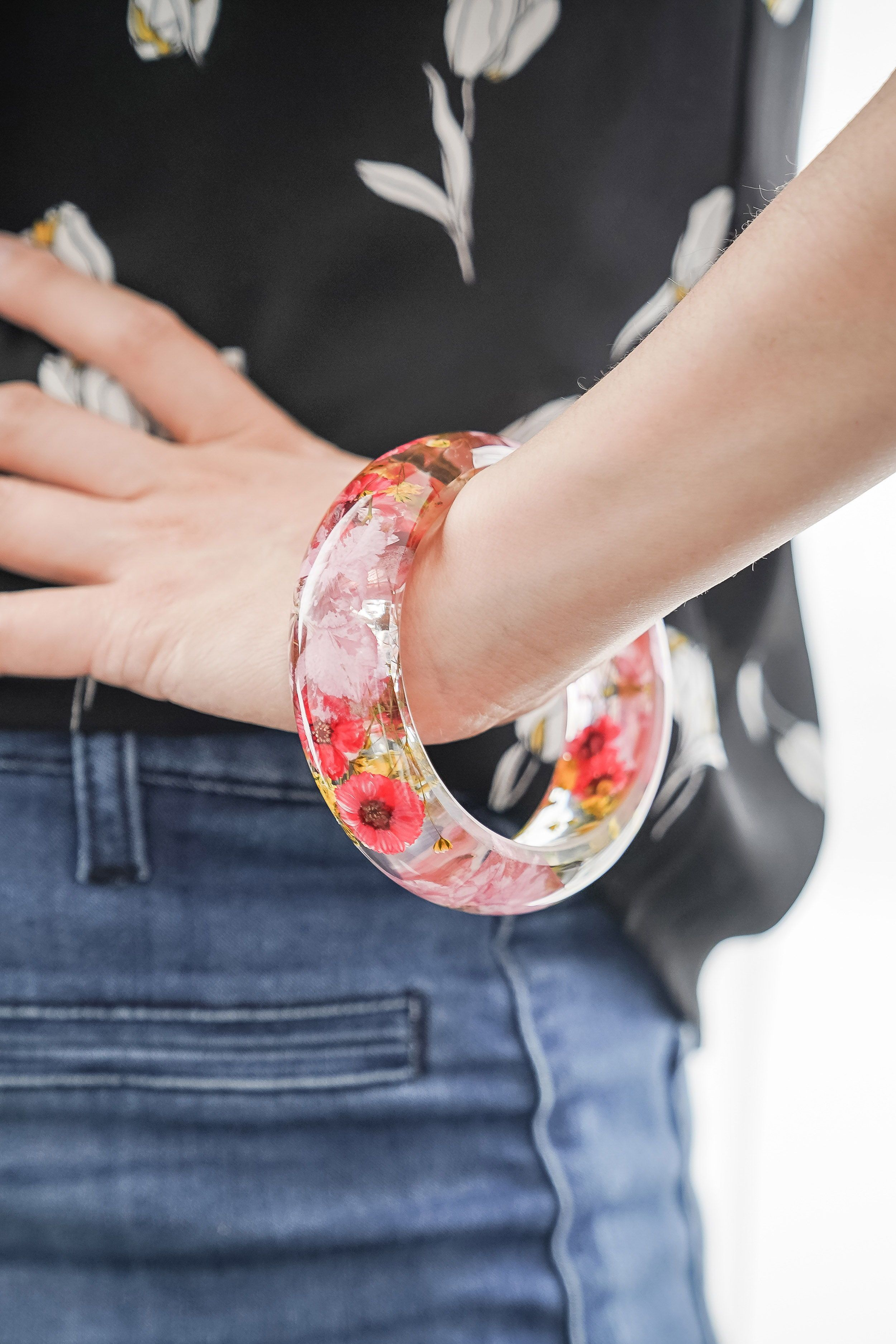 Photo of Real Pressed Flower Resin Bangle Bracelet, Pink Cherry Blossoms