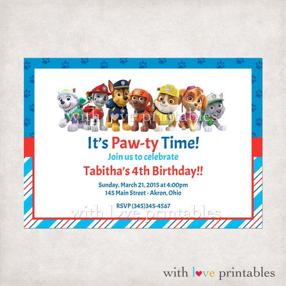 Printable Paw Patrol Puppy Dog Birthday By WithLovePrintables