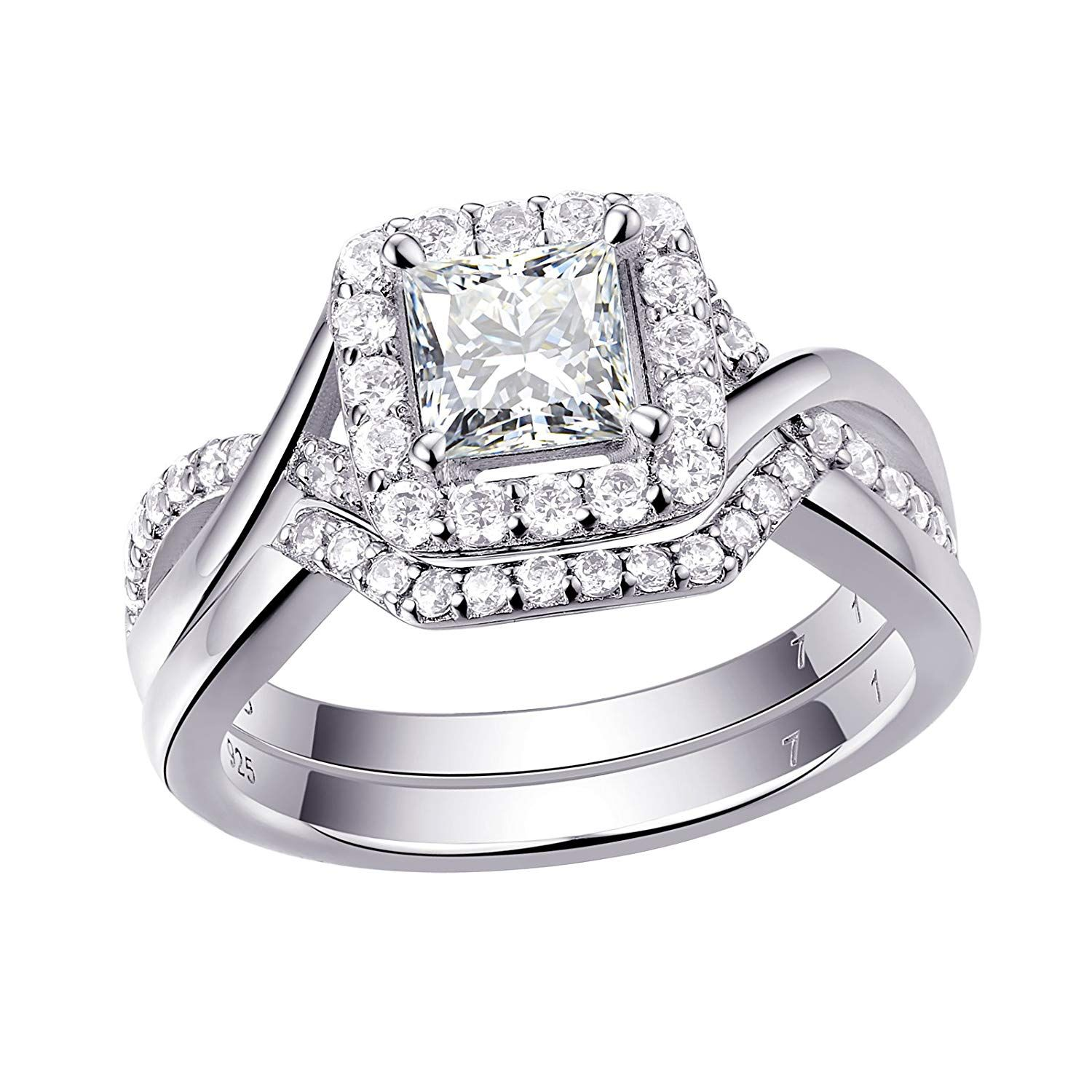 925 Sterling Silver Women/'s Wedding Band Princess AAA CZ Bridal Engagement Ring