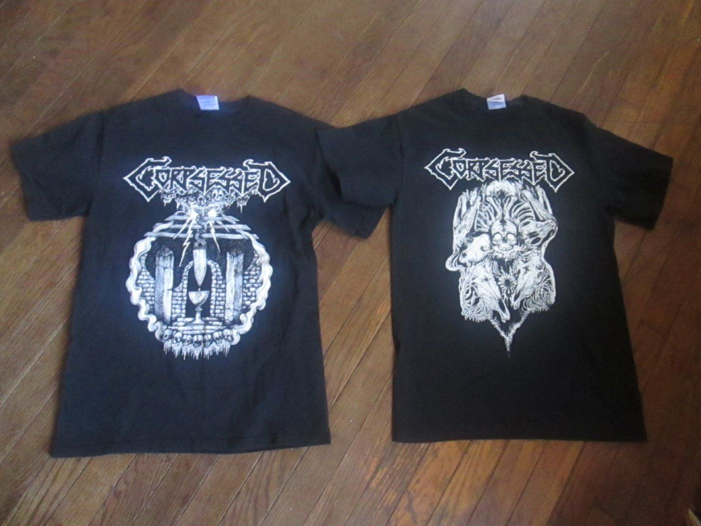 2 CORPSESSED Finnish Death Metal Band Black T-shirts Mens Size Small
