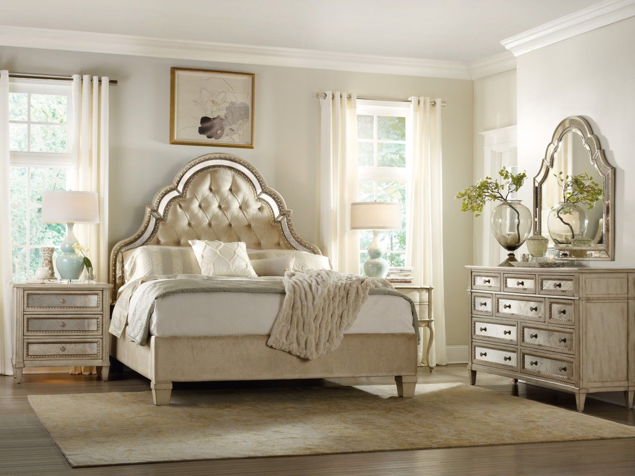 mirror-bedroom-furniture-set-with-curved-carving-frame-on ...