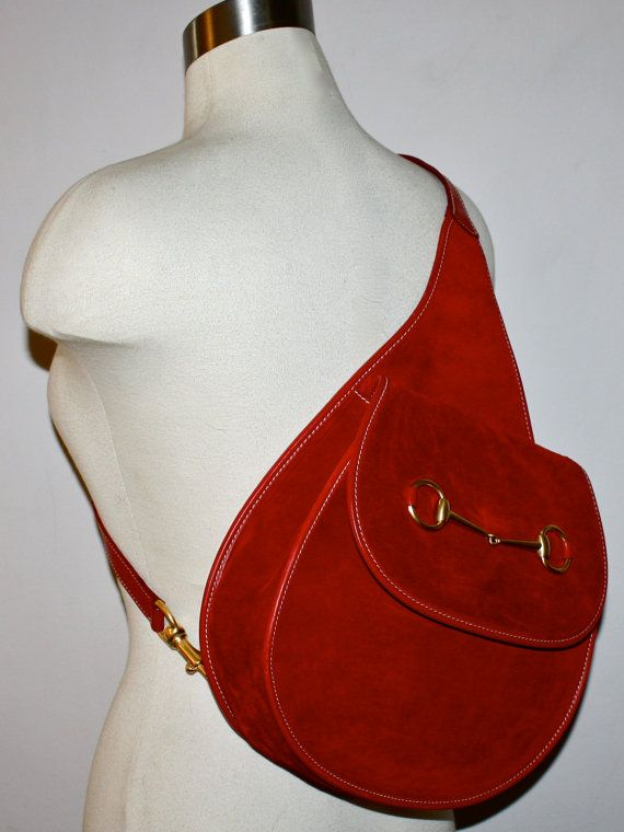 47b9d5f6bbbe VINTAGE GUCCI Backpack Red Suede Leather Horsebit Sling Bag -Authentic-