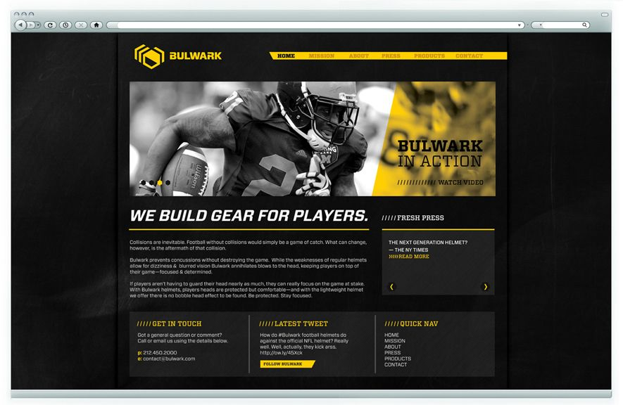 Bulwark Branding | Website | Concept: Allows coaches to do further research on this new product | Challenge: Maintaining a masculine look while educating the public about the serious risk of concussions of football. | Their helmet decreases the chance of concussion by over 31%. In order to sell their product, Bulwark needed educate the public about the serious risks of concussions and how Bulwark solves them. | Designer: Emily Schwarting | Image 5 of 9
