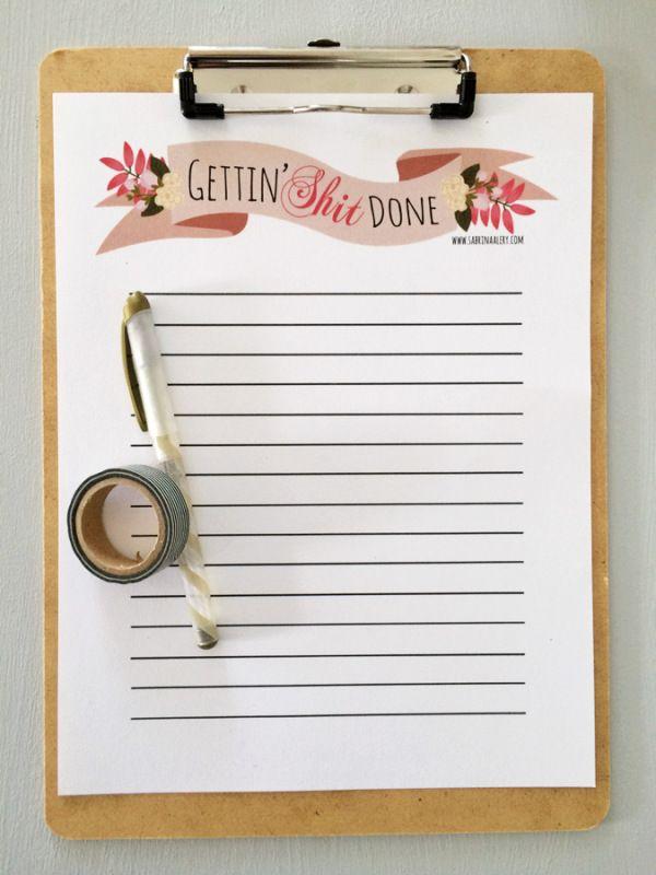 printable clipboard template