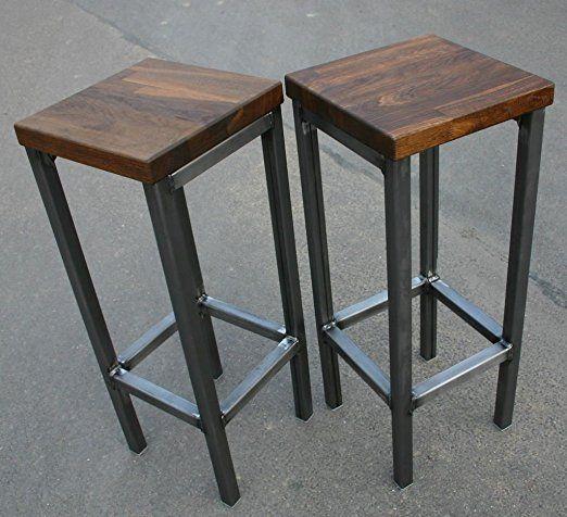 Ein Original BestLoft® Barhocker Im Industriedesign Stahl Holz Eiche Massiv  78cm (Hell,