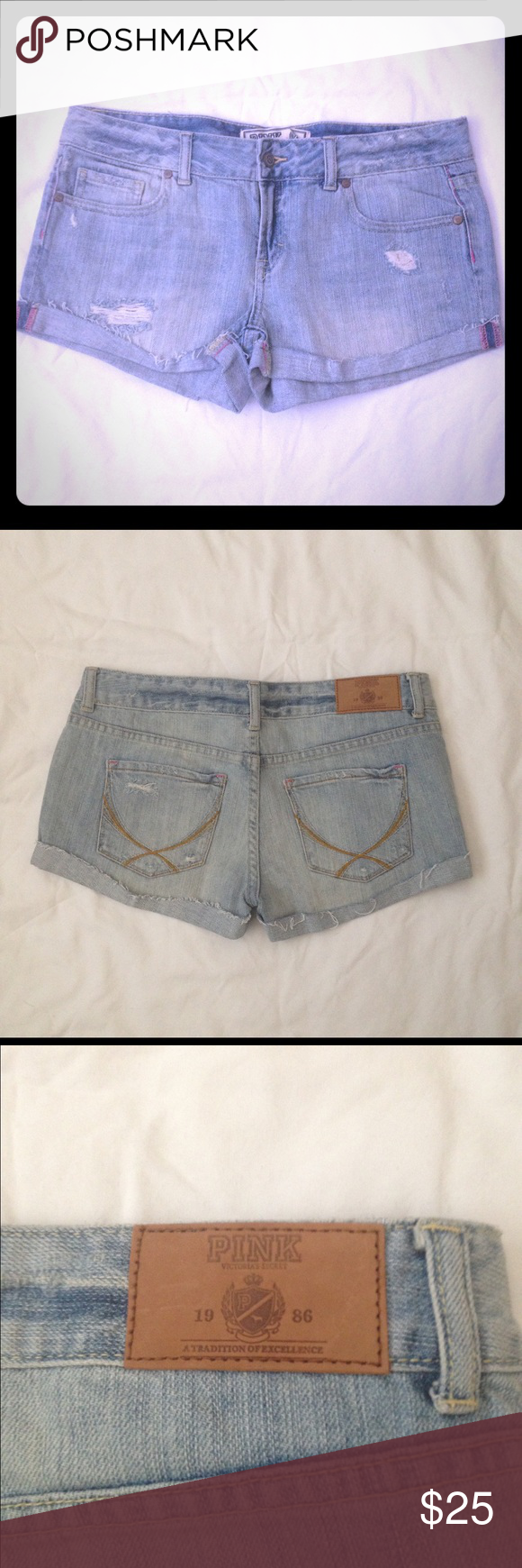 NWOT PINK denim shorts New PINK by Victoria's Secret denim distressed shorts. Open to reasonable offers PINK Victoria's Secret Shorts Jean Shorts