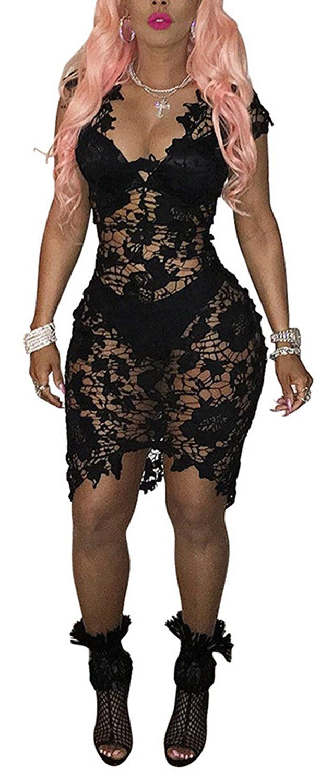 46bdc013aa44 Amazon.com: Women's Sexy Deep V-neck Sleeveless See Through Bodycon Party  Club Midi Dress: Clothing